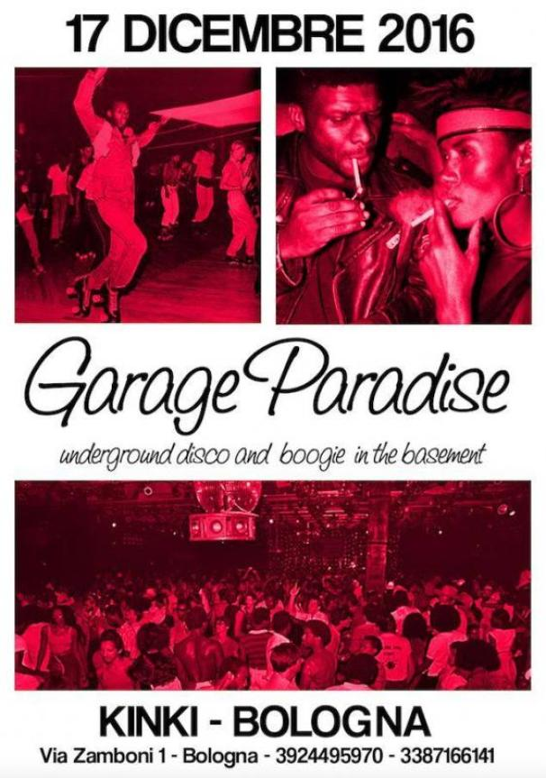 GARAGE PARADISE underground disco and boogie in the basement